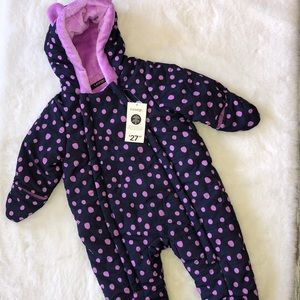 George purple and navy bunting snowsuit 3-6 months